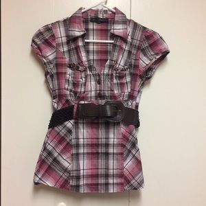 Heart Soul Medium Women's Plaid Top